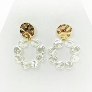 Flat Pearl Drop Loop Earrings